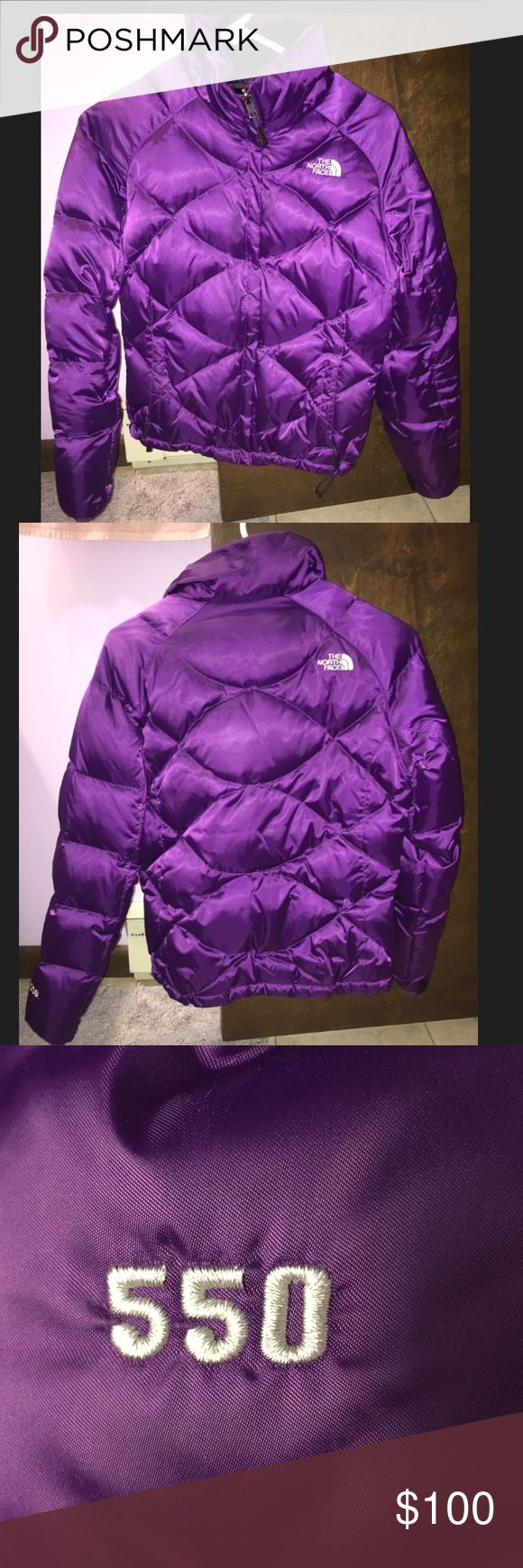 North face 550 puffer jacket Beautiful purple puffer jacket by the North Face. Great condition, no visible marks or stains that I can see! North face logo on upper right back and chest. No good but zips up around the neck. Inside is a warm fleece and it is the 550 filled version. I believe this is the aconcagua jacket from a few years ago. Women's size small. Perfect for cold winter days :) North Face Jackets & Coats Puffers