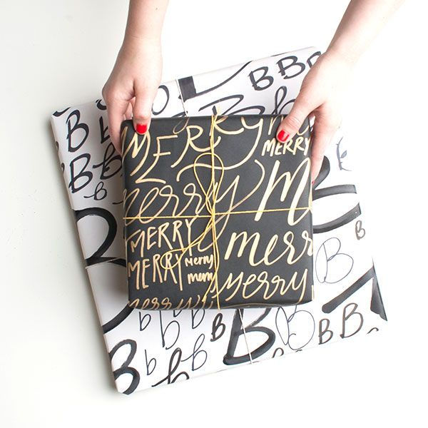 super cute hand-drawn wrapping paper tutorial