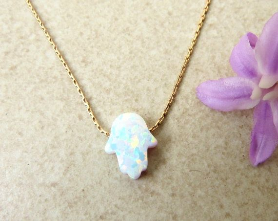 white opal hamsa necklace, gold hamsa necklace, silver hamsa necklace, hamsa pendant, dainty jewelry, Moroccan jewelry