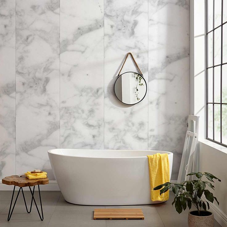 Classic Marble Wallpaper by WYNIL, for a refined and trendy accent wall in your bathroom, bedroom or office.