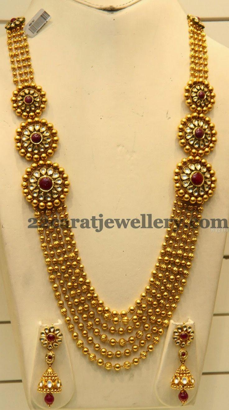 Suhasini in gundla haram jewellery designs - Jewellery Designs Gundla Haram With Round Motifs