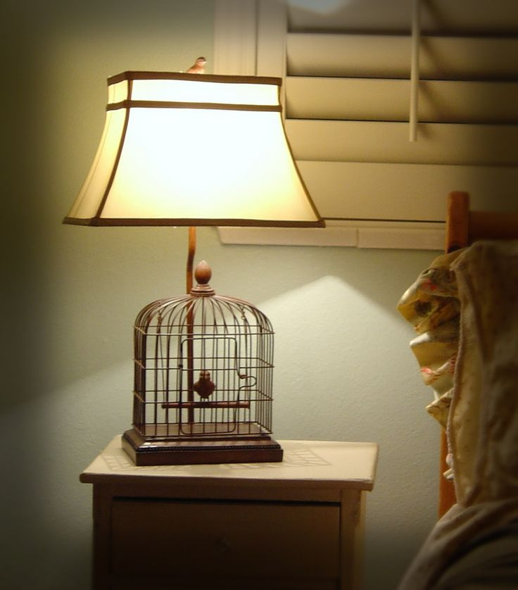 Wooden birdcage + lamp kit + lamp shade