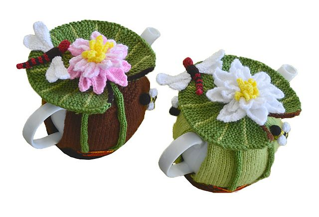 Ravelry: Water Lilly & Dragonfly Tea Cozy pattern by Marcelline Simonotti