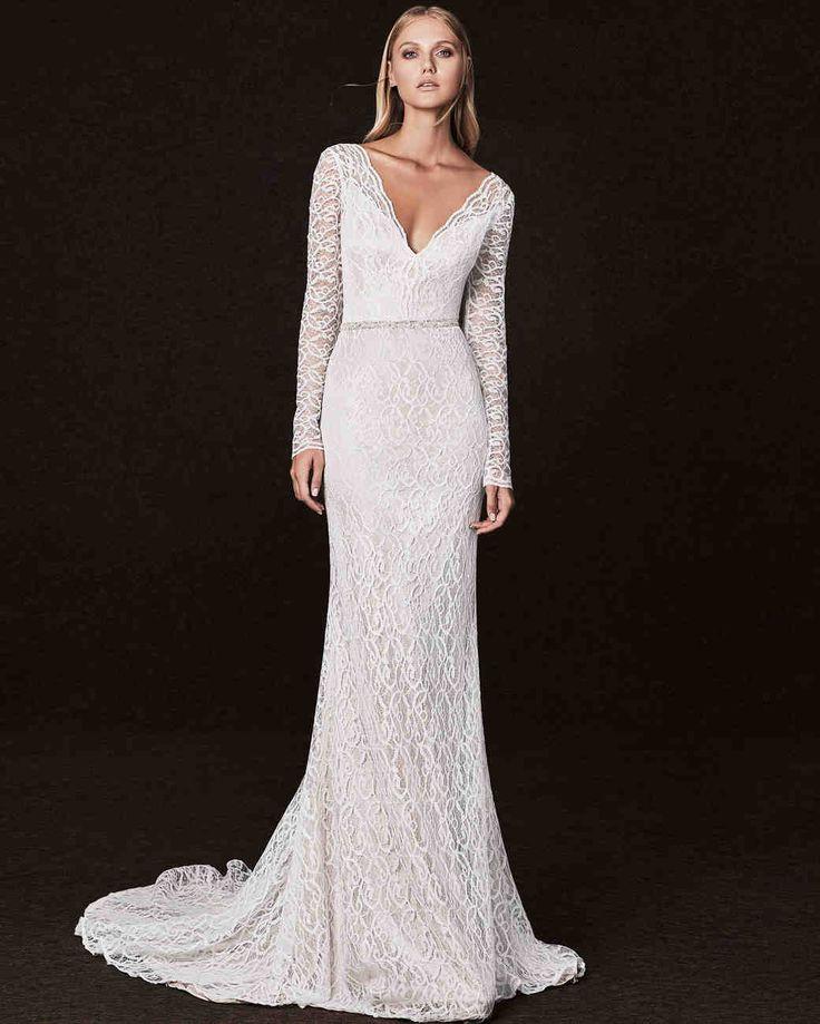 Victoria Kyriakides Fall 2017 Wedding Dress Collection | Martha Stewart Weddings – Long-sleeve V-neck mermaid wedding dress