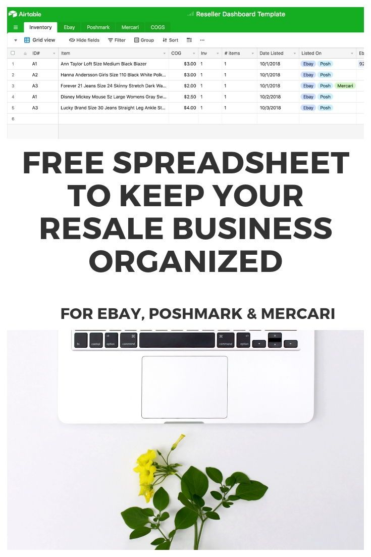 FREE Ebay Spreadsheet for Inventory - Poshmark & Mercari too