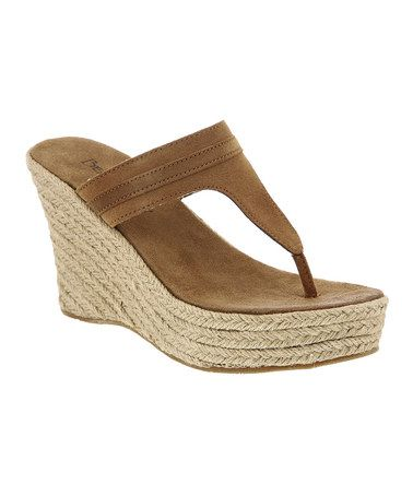 Take a look at this Jute Tan Suede Ava Wedge Sandal - Women by BEARPAW on #zulily today!