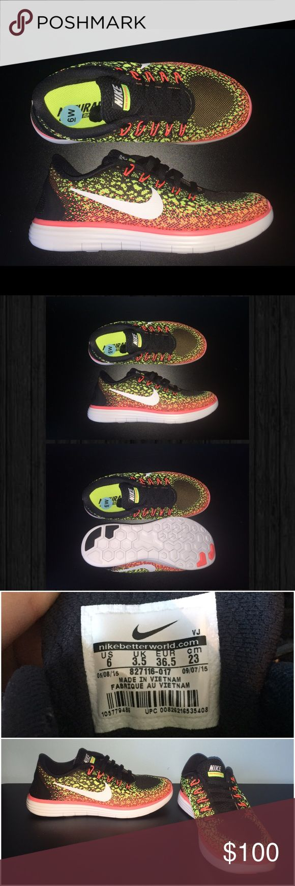 New || Nike Free RN Distance Women's Shoes || 6 Brand New  Nike Free RN Distance Women's Shoes Black/Volt/Lava Size 6   The Nike Free RN Distance is a hyper flexible daily running shoe designed for natural movement and a neutral foot motion Nike Shoes Sneakers