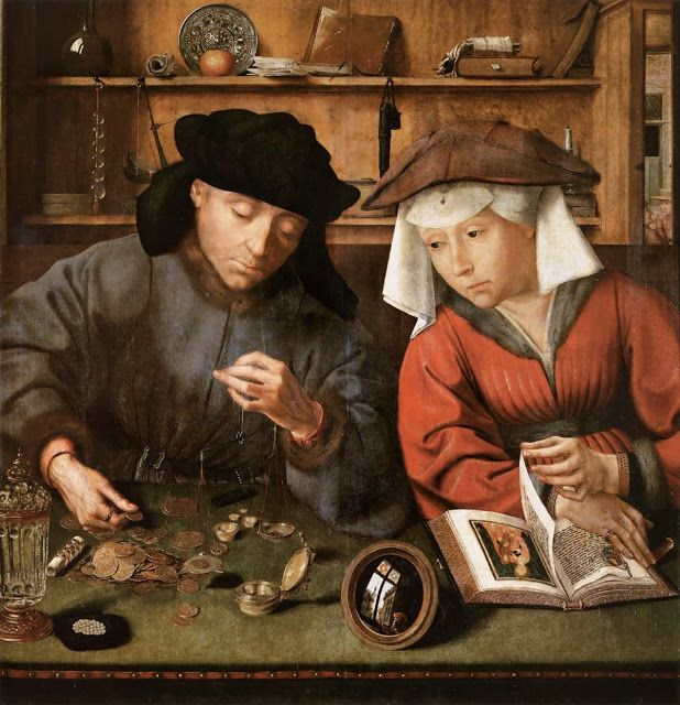 Quentin Metsys : The Moneylender and his Wife.    Quentin Metsys the Younger (rarely Quinten or Massys) (c.1543–1589) was a Flemish Renaissance painter, one of several of his countrymen active as artists of the Tudor court in the reign of Elizabeth I of England. He was the son of Flemish painter Jan Massys, Matsys, or Metsys and the grandson and namesake of Quentin Massys or Metsys