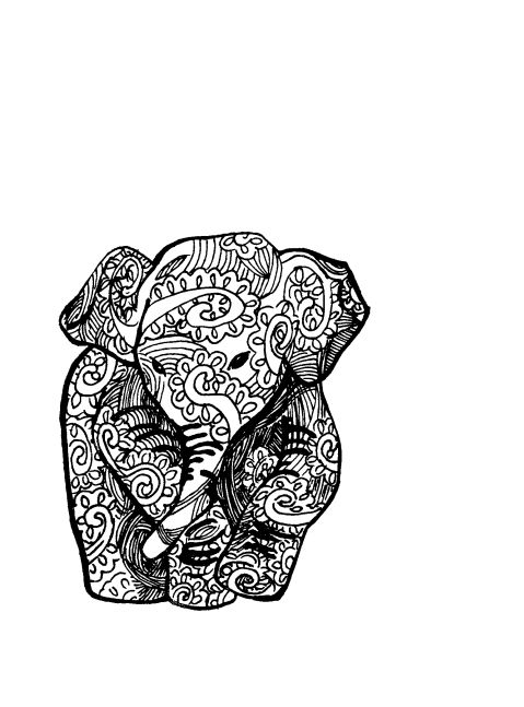 Elephant Line Drawing Tattoo : Doodle drawing illustration ink zentangle elephant line