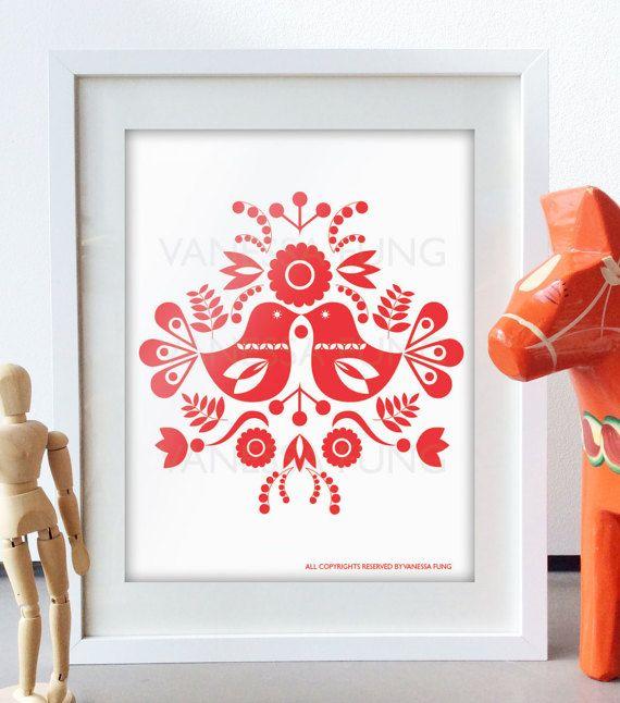 Skandinavische Volkskunst Frühling rot Liebe von Illustrationpop