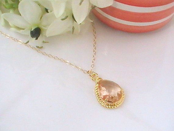 Peach Necklace Blush Wedding Jewelry Champagne by Crystalshadow