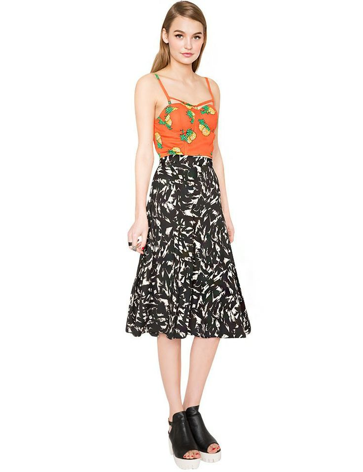Painterly Midi Skirt - Printed Brush Stroke Skirt -$46