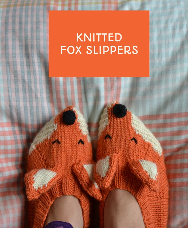 Making Sincerely Louise's fox slippers - pattern from Mollie Makes - using Bergere De France Ideal yarn to knit these slippers. Post via This Little Space of Mine