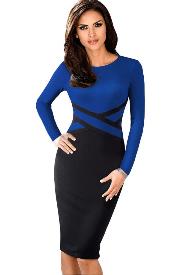 2851dd6d4e496 Contrast Waist Long Sleeve Sheath Midi Dress - Fast Shipping ...