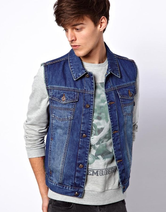 $66, Blue Denim Jacket: Asos Sleeveless Denim Jacket. Sold by Asos. Click for more info: https://lookastic.com/men/shop_items/10495/redirect