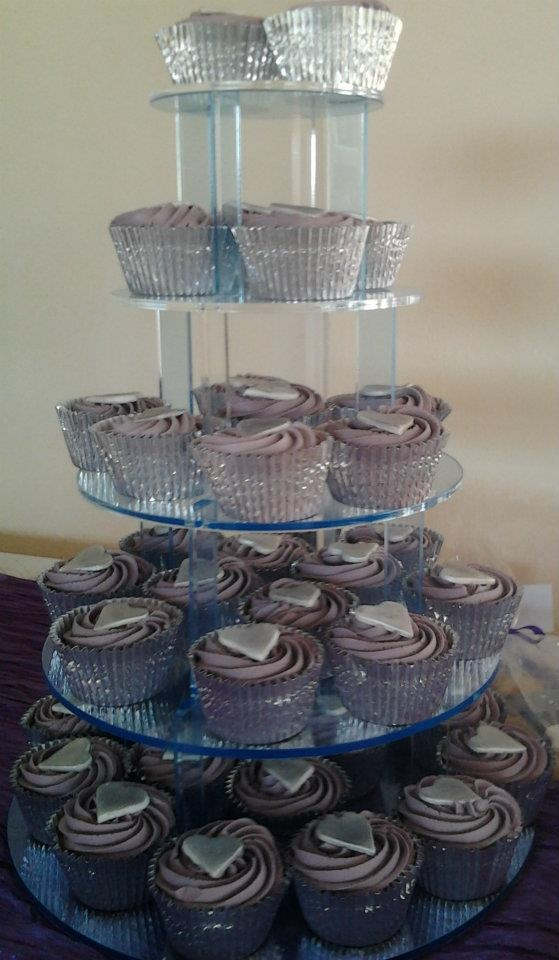 WEDDING CUPCAKES PURPLE/SILVER