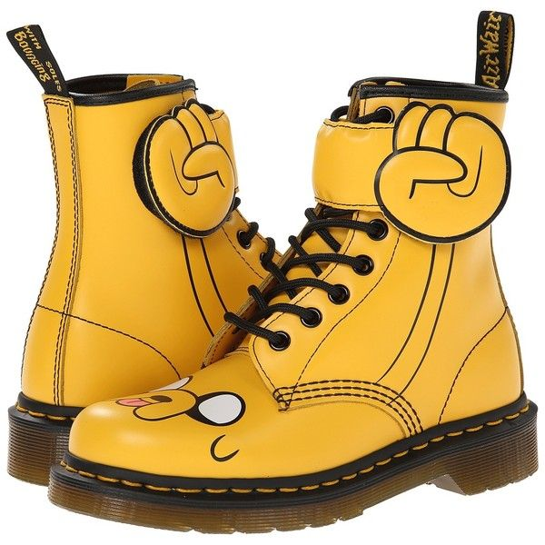 Dr. Martens Jake Boot (Yellow) Lace-up Boots (£52) ❤ liked on Polyvore featuring shoes, boots, dr. martens, yellow, platform boots, yellow boots, side zipper boots, laced up boots and lace-up platform boots
