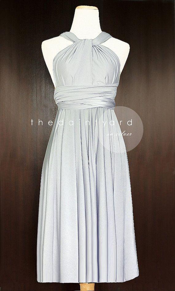 Short Straight Hem Silver Bridesmaid Dress by thedaintyard on Etsy