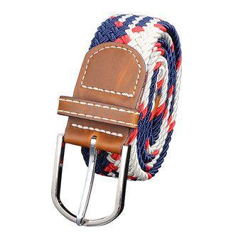 Unisex Men Stretch Braided Elastic Woven Leather Buckle Belt - US$6.59