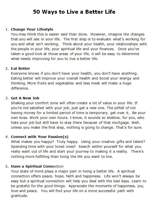 Better your Life - take these with you...