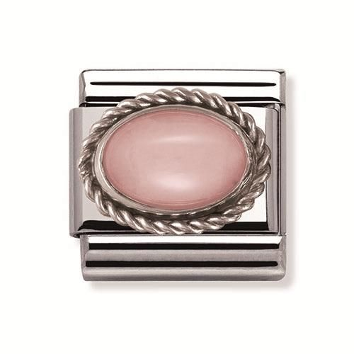 Nomination Stainless Steel and Sterling Silver Pink Opal Oval Rope Charm.