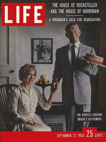 """George Allen & Gracie Burns ~ September 22, 1958 issue ~ Old Life Magazines ~ Click image to purchase. Enter """"pinterest"""" at checkout for a 12% discount."""