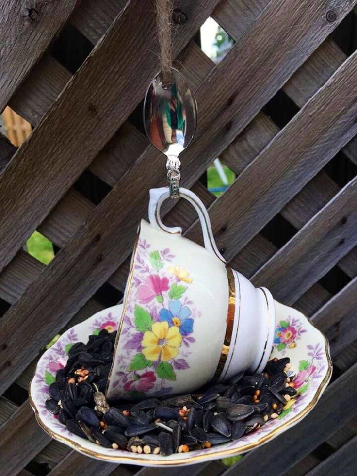 A personal favorite from my Etsy shop https://www.etsy.com/ca/listing/525490338/colclough-floral-teacup-bird-feeder-with