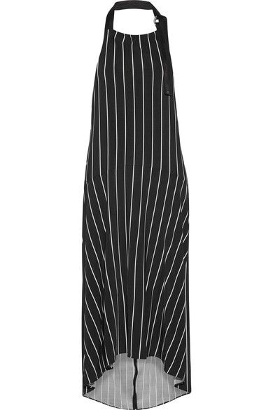 BALENCIAGA Striped stretch-jersey halterneck midi dress. #balenciaga #cloth #dresses