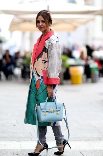 Prints in street style . Pop art at Milan Fashion Week 2015. Via Style Caster