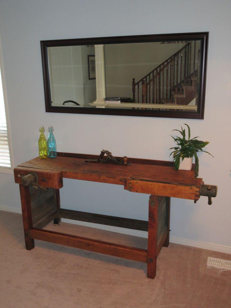 Repurposed antique carpenter's table