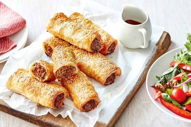 Feed a crowd with these homemade beef, chorizo and semi-dried tomato sausage rolls.