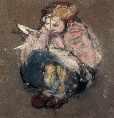 """Joan Eardley (1921-1963) """"Little Girl And Comic"""""""