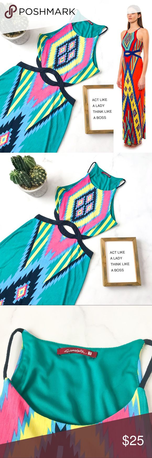 Silvergate Aztec Cutout Maxi Dress Pre-loved but in great condition! Minimal signs of wear. No stains, snags, or tears. (002-0000)   PRODUCT DETAILS: •Size: Medium •Colors: Teal, Pink, Yellow, Black, Blue  •Made in Vietnam •Measurements: Chest-14.5inch Waist-13inch Length-60+inch • 95% polyester, 5% spandex •Style number: IDA227C-BREP •Machine Wash •Cutout Back And Sides •Tribal Aztec Print •High Neck •Sleeveless  Tags: green navy summer beach pool cover up southwestern Silvergate Dresses…