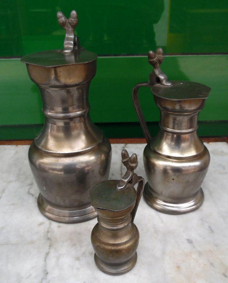 Tre contenitori in peltro da collezione primo '900 Francia