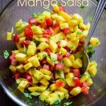 Quick and Easy Mango Salsa Recipe made from fresh mangoes, cilantro, lime and tomato. This recipe for salsa with mangoes goes well with Mexican recipes or as a side dish