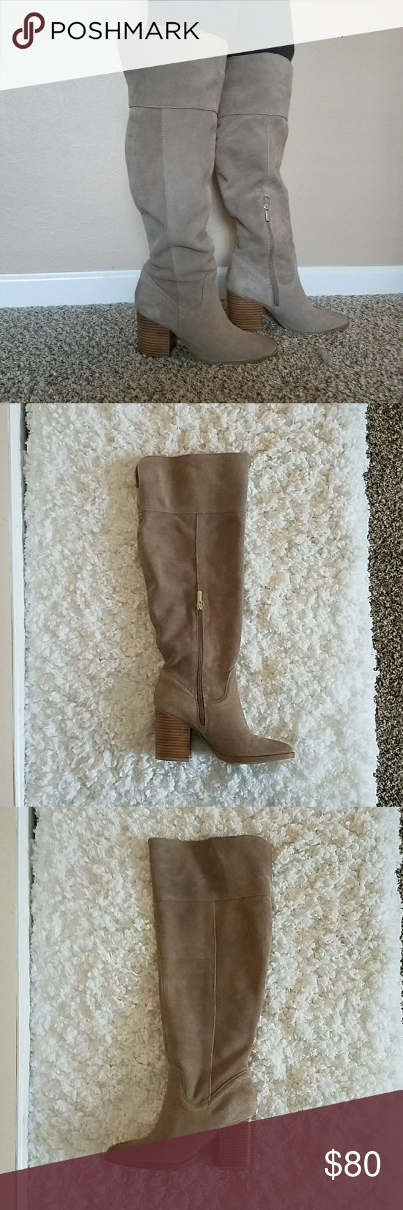 STEVE MADDEN SUEDE OVER KNEE BOOT TAUPE BEIGE  7.5 Block heel over the knee suede boots Steve Madden Shoes Over the Knee Boots