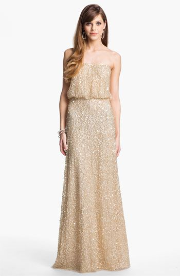 Adrianna Papell Sequin Coated Blouson Mesh Gown. Great for a casual wedding or bridesmaids