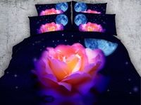 3D Colorful Rose with Moon Stars Digital Printing 4-Piece Bedding Sets Luxury Duvet Covers Bedspreads Twin Queen Super King size