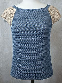 Raglan lace tee...sizes up to 3XL... Free crochet pattern!