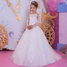 Tienda Online Marfil blanco encaje flor niñas vestidos 2019 vestido de baile ci…