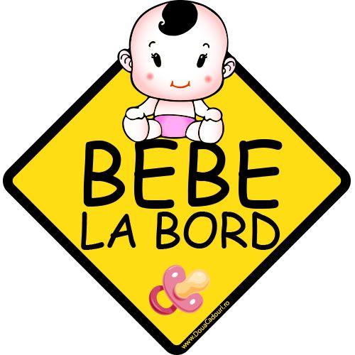 Autocolant auto Bebe la bord fetita    Autocolant (sticker) auto ce reprezinta un indicator in forma de romb cu mesajul Bebe la bord, o bebelusa si o suzeta  Alegeti dimensiunea dorita: 13 x 12.7 cm sau 20 x 19.6 cm