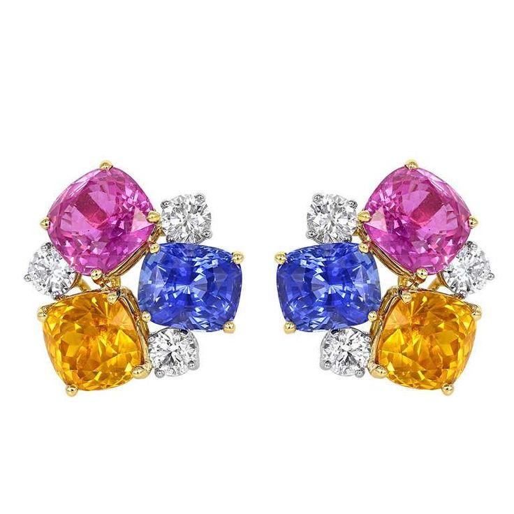 18.01 Carat Multi Color Sapphire and Diamond Earrings