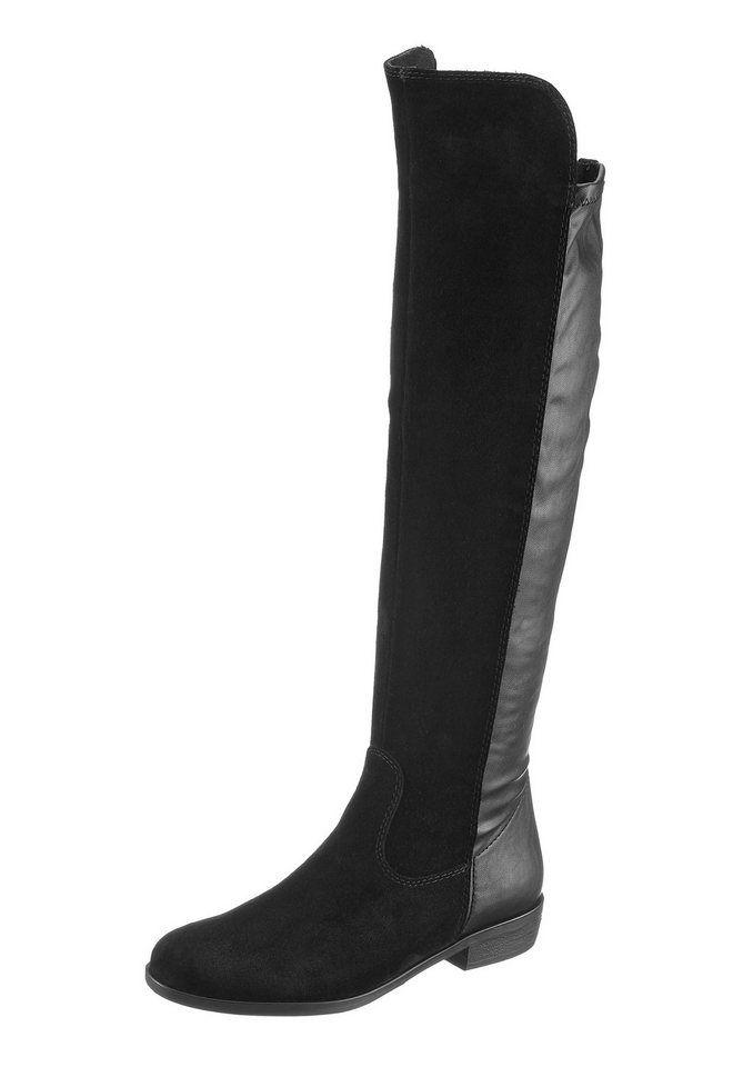 Tamaris Overknee-Stiefel für 69,99€. Materialmix aus Leder und Lederimitat, e66992b21f
