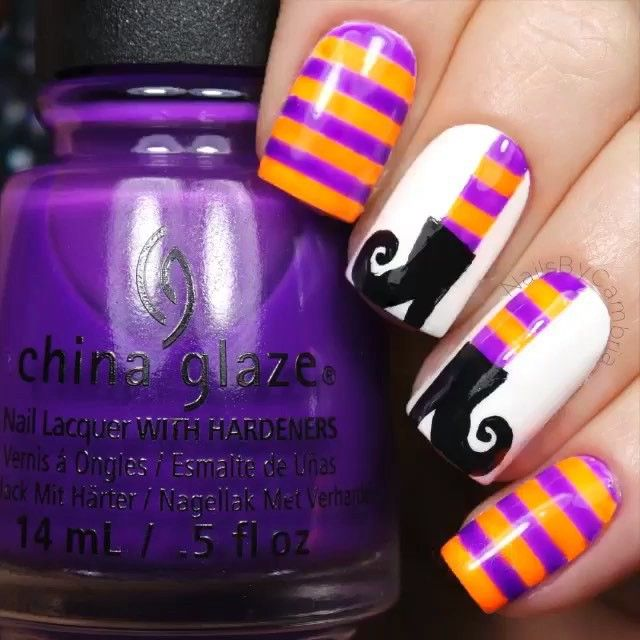 Witches boots mani by the amazing @nailsbycambria! We're going to post two videos to show you how @nailsbycambria put this mani together! In this video, she used the Striping Stencils from TwinkledT.com as well as the ✨Twinkled T #00 Detail Kolinsky Brush✨