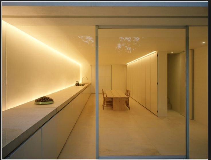 the soffit lighting encompasses the space with light