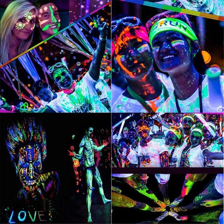 Kim-Onni Glow in Dark Body Paint Face UV Backlight Neon Fluorescent set of tubes