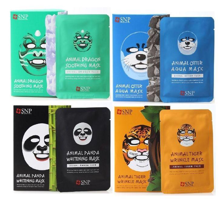 SNP Animal Face Mask Sheet Dragon, Panda, Tiger, Otter 10Pcs/Box - Strawberrycoco