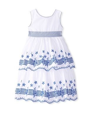 44% OFF Laura Ashley Girl's Scalloped Tiered Dress (White/Blue)