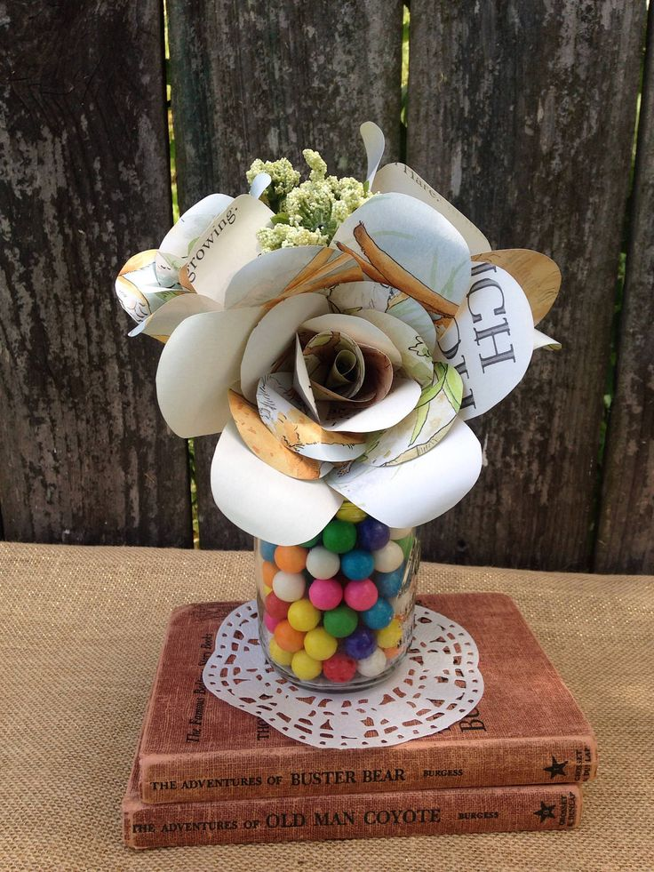 Children's book paper flower bouquet/Children's Book Theme Centerpiece by VOCrafted on Etsy https://www.etsy.com/listing/253633475/childrens-book-paper-flower