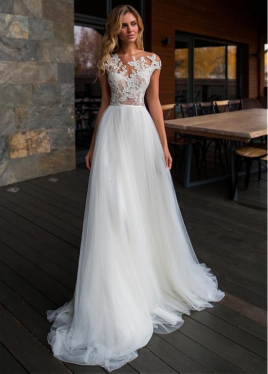 Eye-catching Tulle Jewel Neckline A-line Wedding Dresses With Lace Appliques & B…